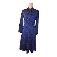 Vintage Blue Polka Dot Polyester Dress Pussy Bow Neck JONES