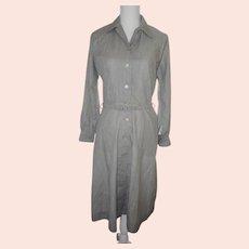 Vintage 1940s Blue & Beige Striped Cotton Summer Day Dress & Belt INA CAROL