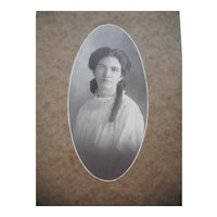 Beautiful Mell Robertson Black and White Photo on Cardboard Holder Young Girl Sausage Curl