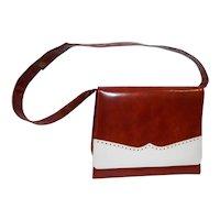 Brown and White Handbag Purse