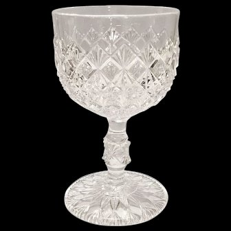 King, Son and Company 's Fine Cut and Block Pattern Early American Pressed Glass (EAPG) Stemmed Cordial Glass