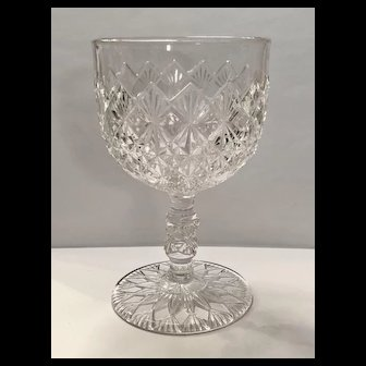King, Son and Company 's Fine Cut and Block Pattern Early American Pressed Glass (EAPG) Water Goblet