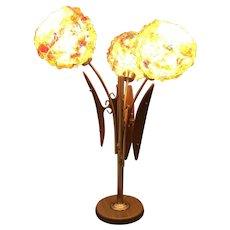 Mid Century 3 Light Spun Lucite Spaghetti Ribbon Table Lamp