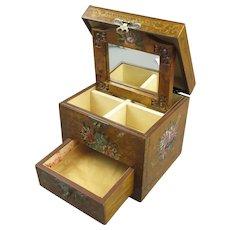 Painted Satinwood Jewellery Box Vintage c1950