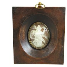 Carved Cameo In Frame Antique 19th Century