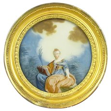 Framed Painting on Glass Antique 18th Century