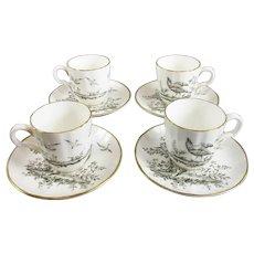 Four Royal Worcester Pheasant Pattern Coffee Set Vintage