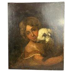 Oil On Canvas Painting Antique Georgian 18th Century