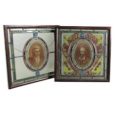 Pair Stained & Painted Glass Windows Antique c1880