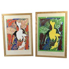 Pair Of Nude Print By Barry Jones Contemporary c1980