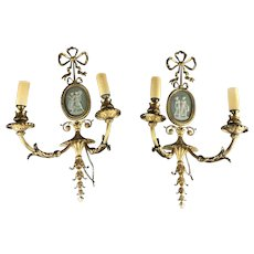Pair Of Brass Cameo Sconces With Electric Candle Fittings Antique Edwardian c1910