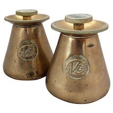Pair Unusual Antique Victorian D&K Brass Conical Incense Diffusers Burners