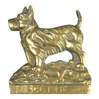 Cast Brass Scottie Dog Plaque Vintage C1960.