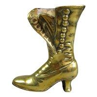 Cast Brass Posy Holder Boot Antique Victorian C1900.
