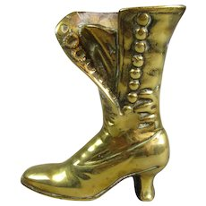 Cast Brass Posy Holder Boot Antique Victorian C1900.