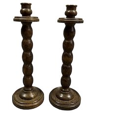 Pair Of Mahogany Carved Candle Stick Vintage c1970