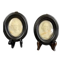 Pair Of Wax Portrait In Mahogany Frame Antique Victorian c1890