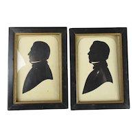 Pair Of Silhouettes Of Gentlemen Antique Edwardian c1910