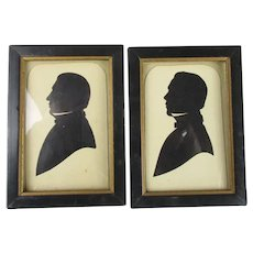 Pair Of Silhouettes Of Gentlemen Antique Edwardian c1910