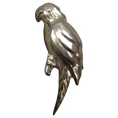 Stirling Silver Parrot Hollow Pendant Brooch