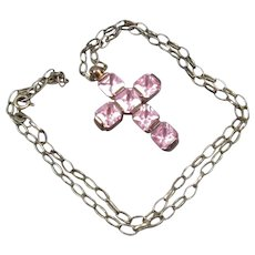 Sterling Silver With Pink Crystal Cross & Chain