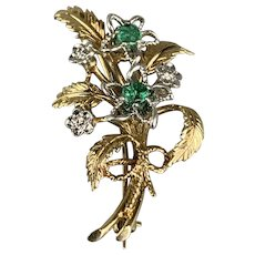 9ct Gold Brooch With Emeralds And Brilliants Vintage c1976