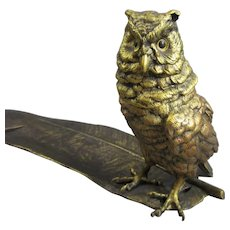 Gilded Austrian Bronze Owl Inkwell & Pen Rest Antique Victorian c1900