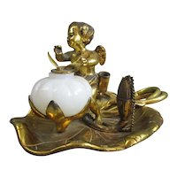 Gilt & Cast Bronze Winged Cupid Inkwell & Stand Antique Edwardian c1910