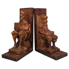 Pair Novelty Hand Carved Wooden Book Ends Vintage c.1950s