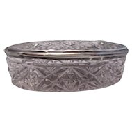 Chester  Sterling Silver Top Glass Trinket Box Vintage 1901