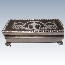 Birmingham Sterling Silver Tortoiseshell Trinket Box Vintage 1908
