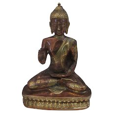 Cast Copper and Brass Dharmachakra Buddha Vintage C1980's.
