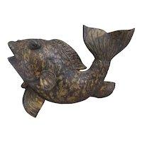 Oriental Bronze Figure Of A Carp Vintage C1960's.