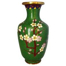 Mid Century Vintage Japanese Green Cloisonne Vase.