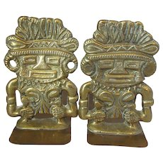 Vintage Pair Brass Polynesian 'Tiki' Bookends c1950s.