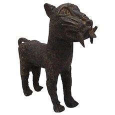 African Benin Style Bronze Leopard Vintage 20th Century.