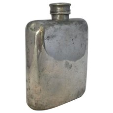 Antique Pewter Hip Flask by James Dixon of Sheffield, England c1910.
