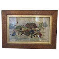 Framed Flemish Tapestry Piper And Dancers Vintage c1920's.