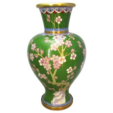 Larger Chinese Green Cloisonne Vase with Cherry Blossom c1950s.