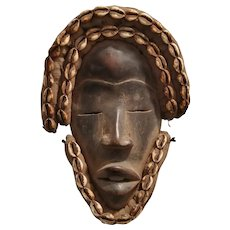 African Wooden Dan Mask With Cowrie Shells Vintage 20th Century.