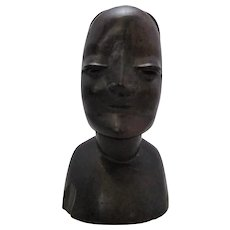 African Carved Wooden Female Figure Vintage 20th Century.