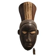 African Carved Wooden Mask Vintage 20th Century.