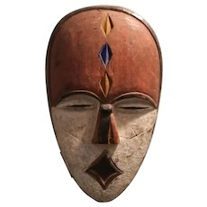 African Carved Wooden Tribal Mask Vintage 20th Century.