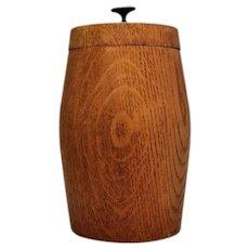 Turned Oak Barrel Shaped Pot Vintage 20th Century.