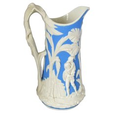 English Aesthetic Period Relief Moulded Jug by TJ & J Meyer c1870
