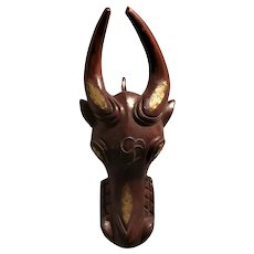 African Wooden Carved Bamum Bull Mask Vintage 20th Century.