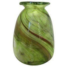 Modern Art Glass Green & Brown Swirl Vase Vintage 20th Century.