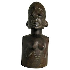 African Carved Ebony Female Figure Vintage 20th Century.