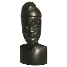 African Carved Ebony Male Figure Vintage 20th Century.