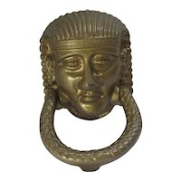 Pharaoh Brass Door Knocker Egyptian Revival Vintage Art Deco c1920.